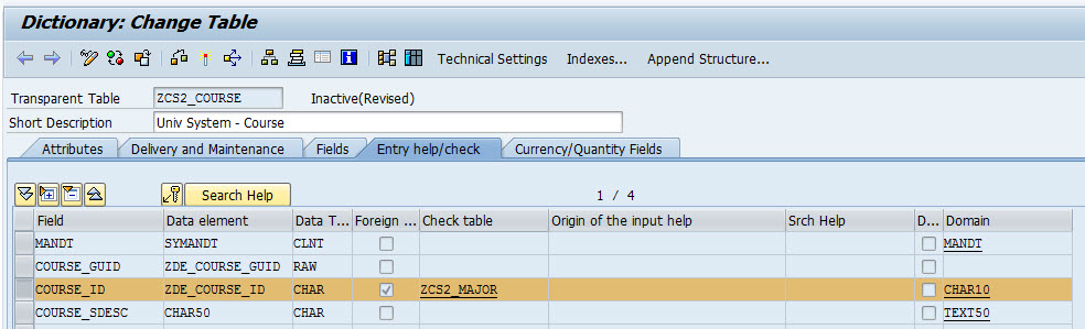 primary key and foreign relationship in sap abap objects